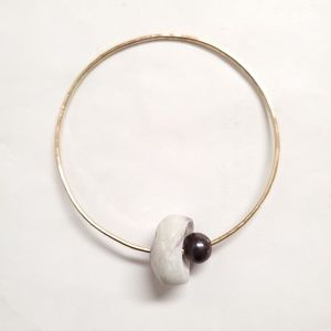 14kt gold fill bangle with FWP and puka shell